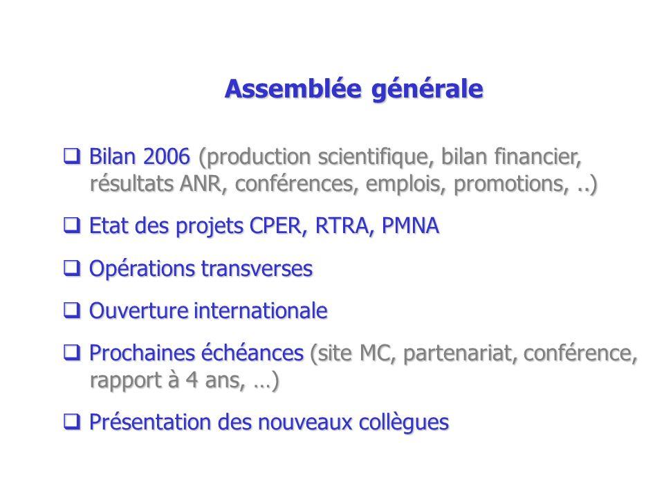 Assemblée générale Bilan 2006 (production scientifique, bilan financier, résultats ANR, conférences, emplois, promotions,..) Bilan 2006 (production sc