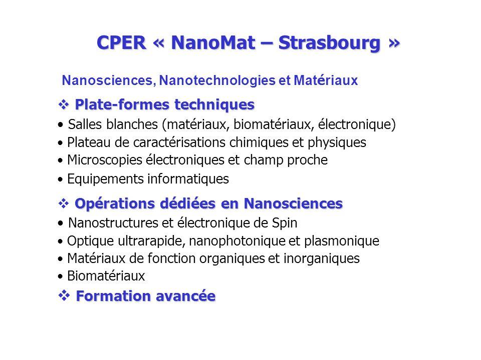 CPER « NanoMat – Strasbourg » Nanosciences, Nanotechnologies et Mat é riaux Plate-formes techniques Plate-formes techniques Salles blanches (matériaux