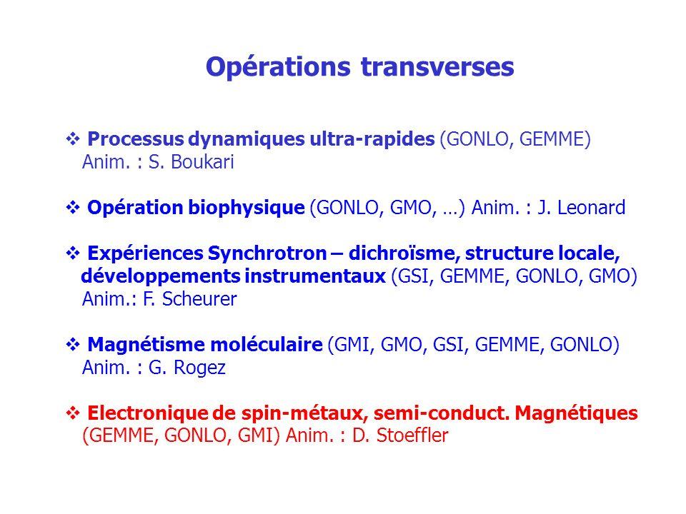 Opérations transverses Processus dynamiques ultra-rapides (GONLO, GEMME) Anim. : S. Boukari Opération biophysique (GONLO, GMO, …) Anim. : J. Leonard E