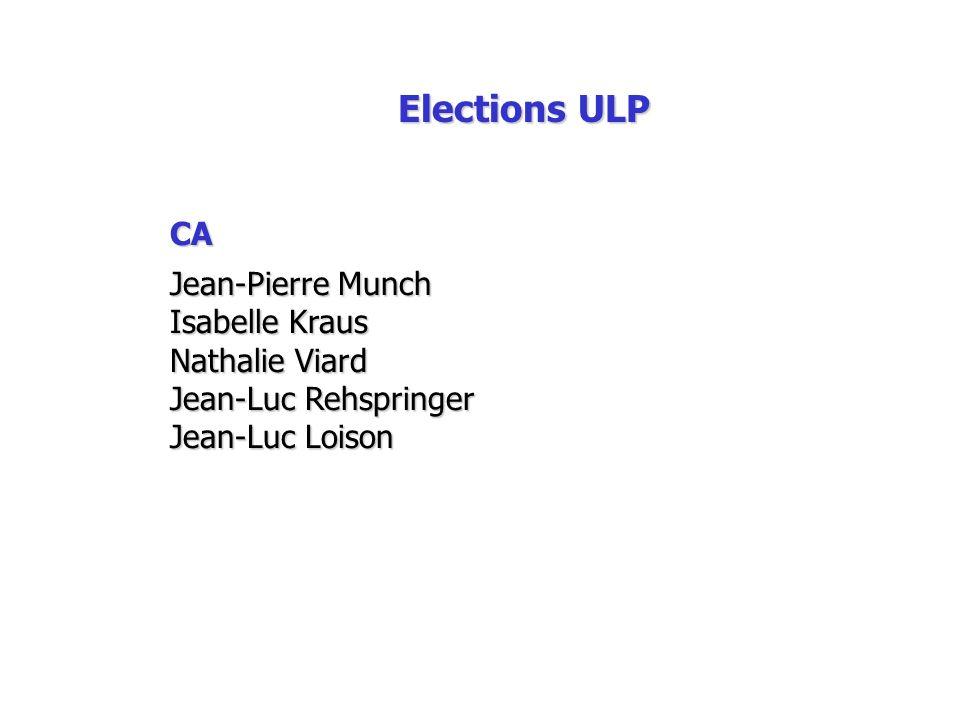 Elections ULP CA Jean-Pierre Munch Isabelle Kraus Nathalie Viard Jean-Luc Rehspringer Jean-Luc Loison