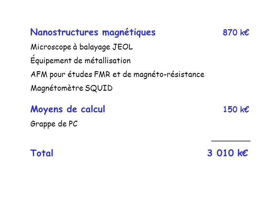 Nanostructures magnétiques 870 k Microscope à balayage JEOL Équipement de métallisation AFM pour études FMR et de magnéto-résistance Magnétomètre SQUID Moyens de calcul 150 k Grappe de PC ________ Total 3 010 k