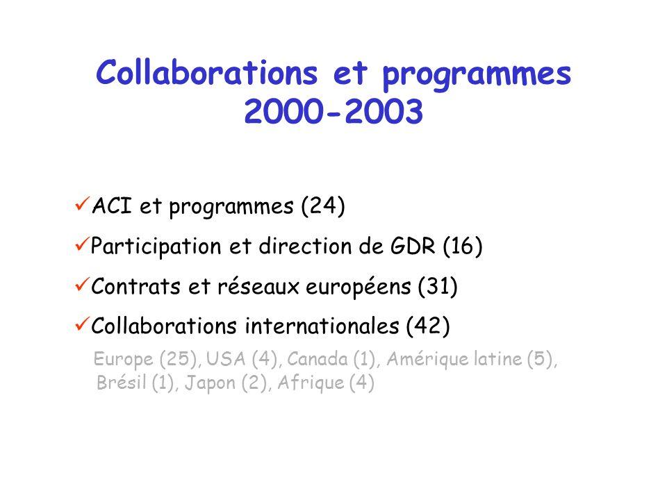 Collaborations et programmes 2000-2003 ACI et programmes (24) Participation et direction de GDR (16) Contrats et réseaux européens (31) Collaborations internationales (42) Europe (25), USA (4), Canada (1), Amérique latine (5), Brésil (1), Japon (2), Afrique (4)