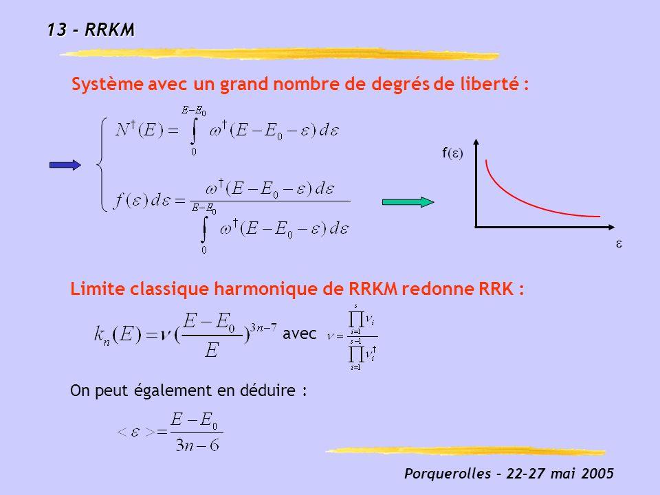 Porquerolles – 22-27 mai 2005 13 - RRKM Limite classique harmonique de RRKM redonne RRK : Système avec un grand nombre de degrés de liberté : avec On