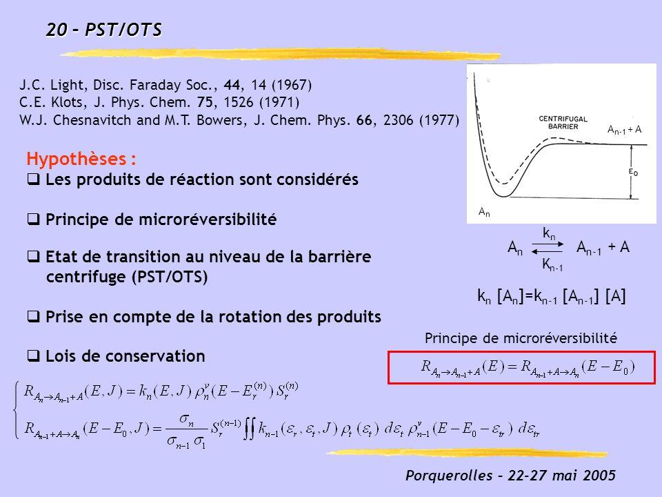 Porquerolles – 22-27 mai 2005 20 – PST/OTS Hypothèses : Les produits de réaction sont considérés Principe de microréversibilité Etat de transition au