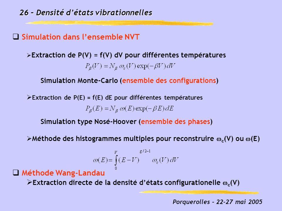 Porquerolles – 22-27 mai 2005 26 – Densité détats vibrationnelles Simulation dans lensemble NVT Extraction de P(V) = f(V) dV pour différentes températ