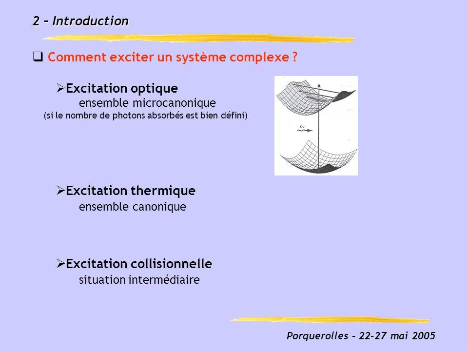 Porquerolles – 22-27 mai 2005 2 – Introduction Comment exciter un système complexe ? Excitation optique ensemble microcanonique (si le nombre de photo