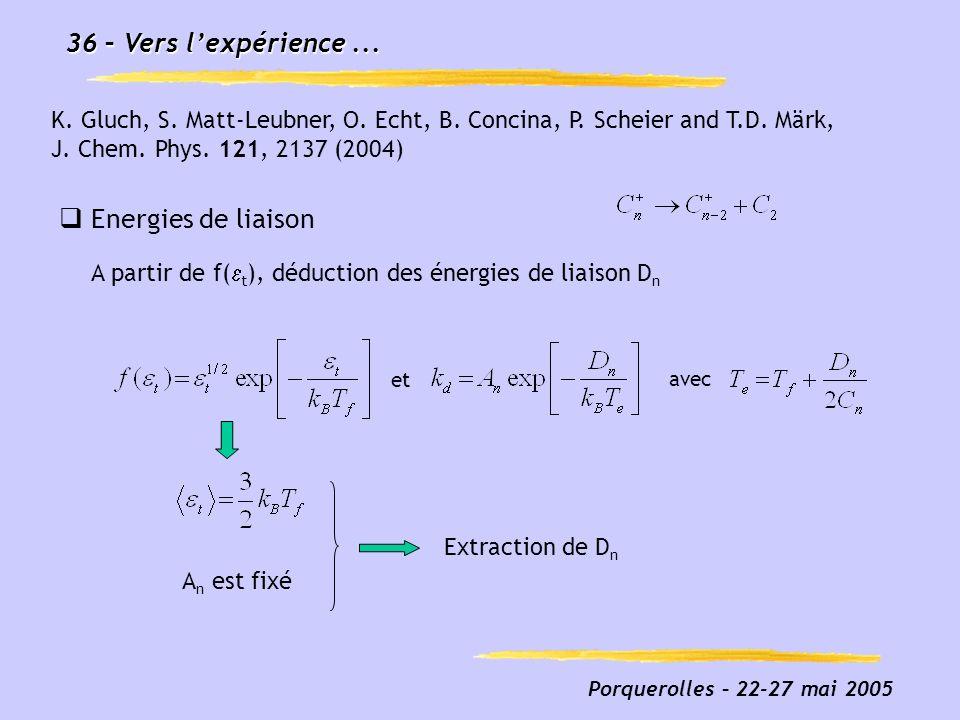 Porquerolles – 22-27 mai 2005 36 – Vers lexpérience... Fig3_prolate_french.eps Energies de liaison A partir de f( t ), déduction des énergies de liais