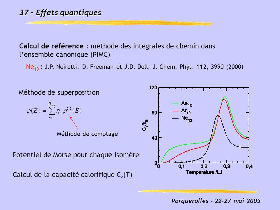 Porquerolles – 22-27 mai 2005 37 – Effets quantiques Fig3_prolate_french.eps J.P. Neirotti, D. Freeman et J.D. Doll, J. Chem. Phys. 112, 3990 (2000) C
