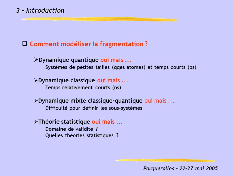 Porquerolles – 22-27 mai 2005 3 – Introduction Comment modéliser la fragmentation .