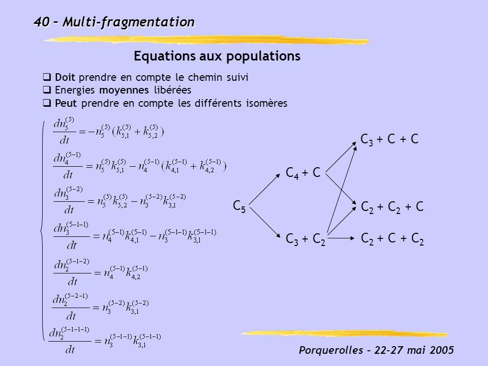 Porquerolles – 22-27 mai 2005 40 – Multi-fragmentation Equations aux populations C5C5 C 3 + C + C C 3 + C 2 C 4 + C C 2 + C + C 2 C 2 + C 2 + C Doit p
