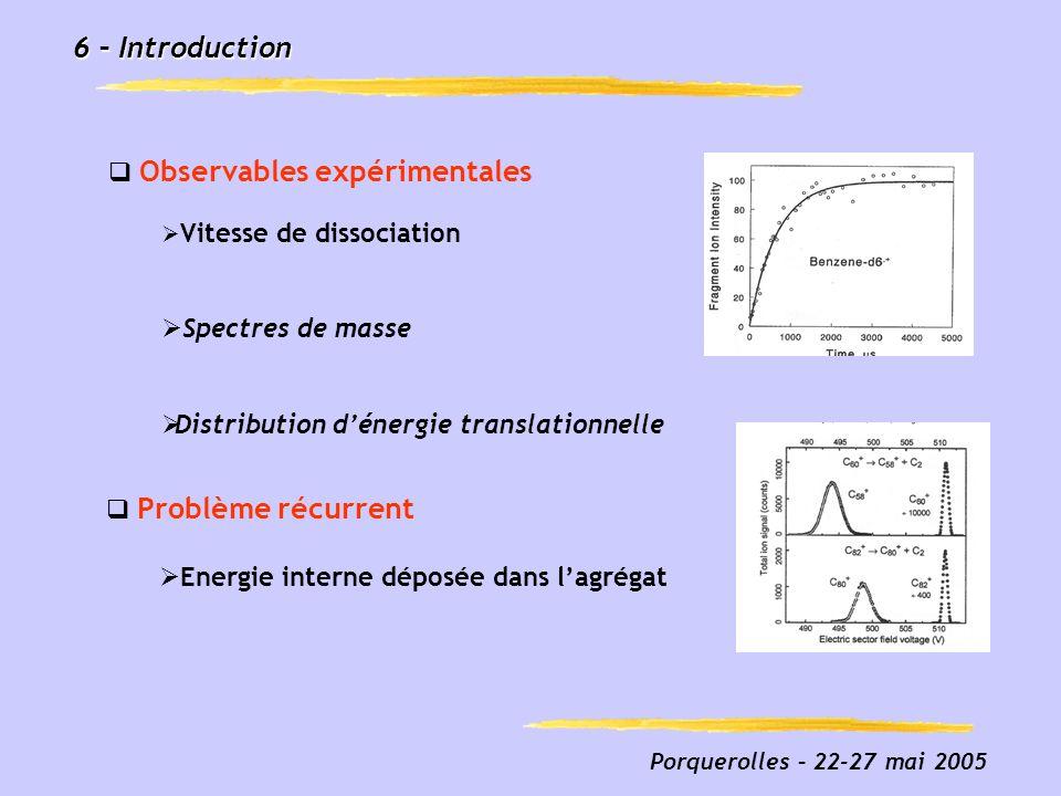 Porquerolles – 22-27 mai 2005 6 – Introduction Observables expérimentales Vitesse de dissociation Spectres de masse Distribution dénergie translationn