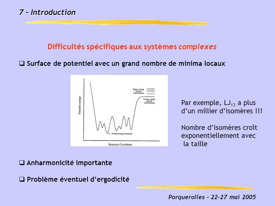 Porquerolles – 22-27 mai 2005 7 – Introduction Difficultés spécifiques aux systèmes complexes Surface de potentiel avec un grand nombre de minima loca