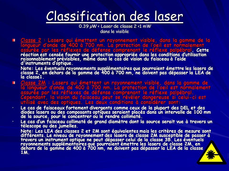 Classe 2 : Lasers qui émettent un rayonnement visible, dans la gamme de la longueur donde de 400 à 700 nm. La protection de loeil est normalement assu