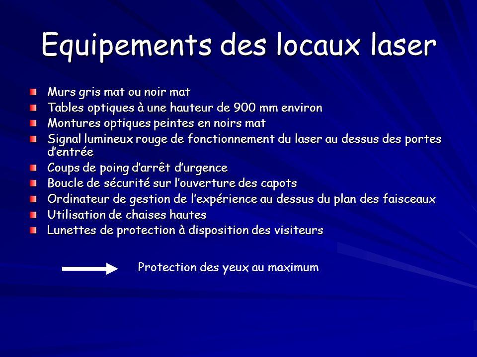 Equipements des locaux laser Murs gris mat ou noir mat Tables optiques à une hauteur de 900 mm environ Montures optiques peintes en noirs mat Signal l