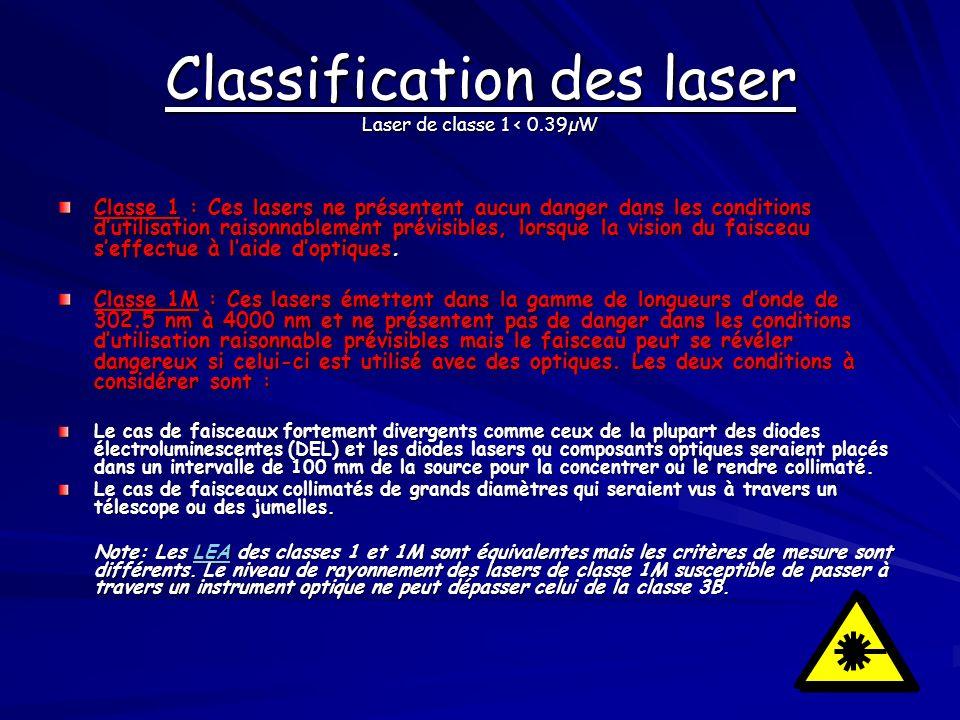 Classification des laser Laser de classe 1 < 0.39µW Classe 1 : Ces lasers ne présentent aucun danger dans les conditions dutilisation raisonnablement