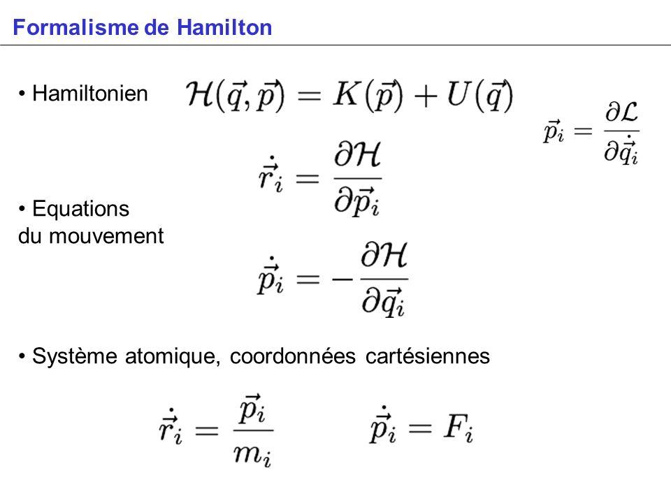 Formalisme de Hamilton Hamiltonien Equations du mouvement Système atomique, coordonnées cartésiennes