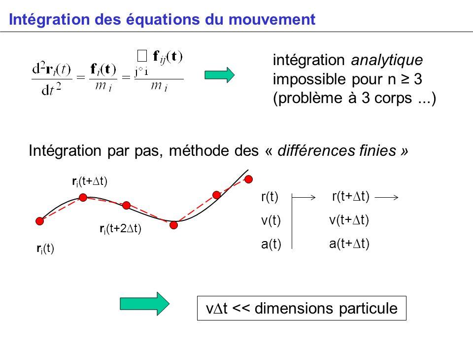 Intégration des équations du mouvement intégration analytique impossible pour n 3 (problème à 3 corps...) Intégration par pas, méthode des « différenc