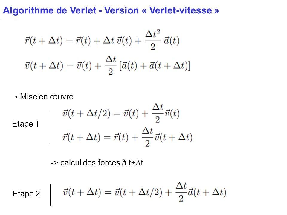 Algorithme de Verlet - Version « Verlet-vitesse » Mise en œuvre -> calcul des forces à t+t Etape 1 Etape 2