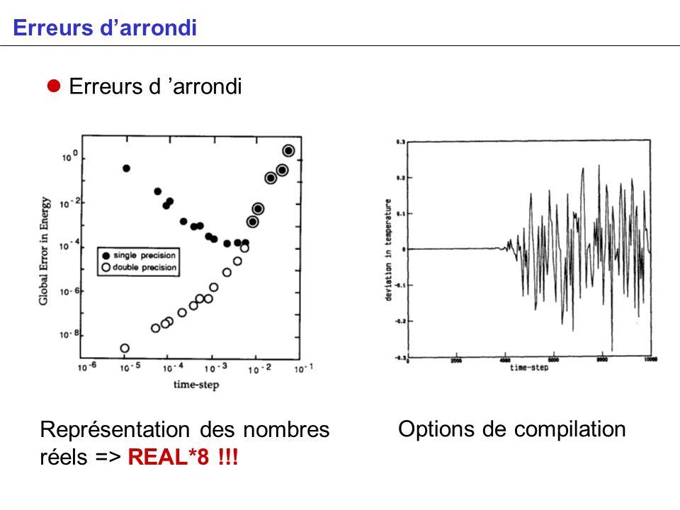 Erreurs darrondi Représentation des nombres réels => REAL*8 !!! Options de compilation