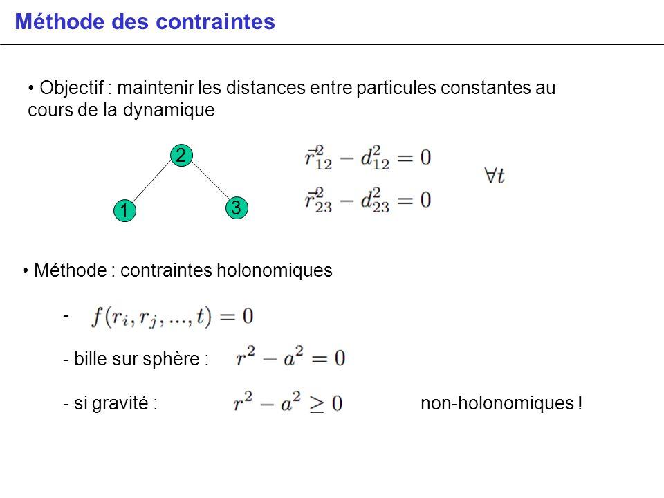 Méthode des contraintes Objectif : maintenir les distances entre particules constantes au cours de la dynamique 1 2 3 Méthode : contraintes holonomiqu