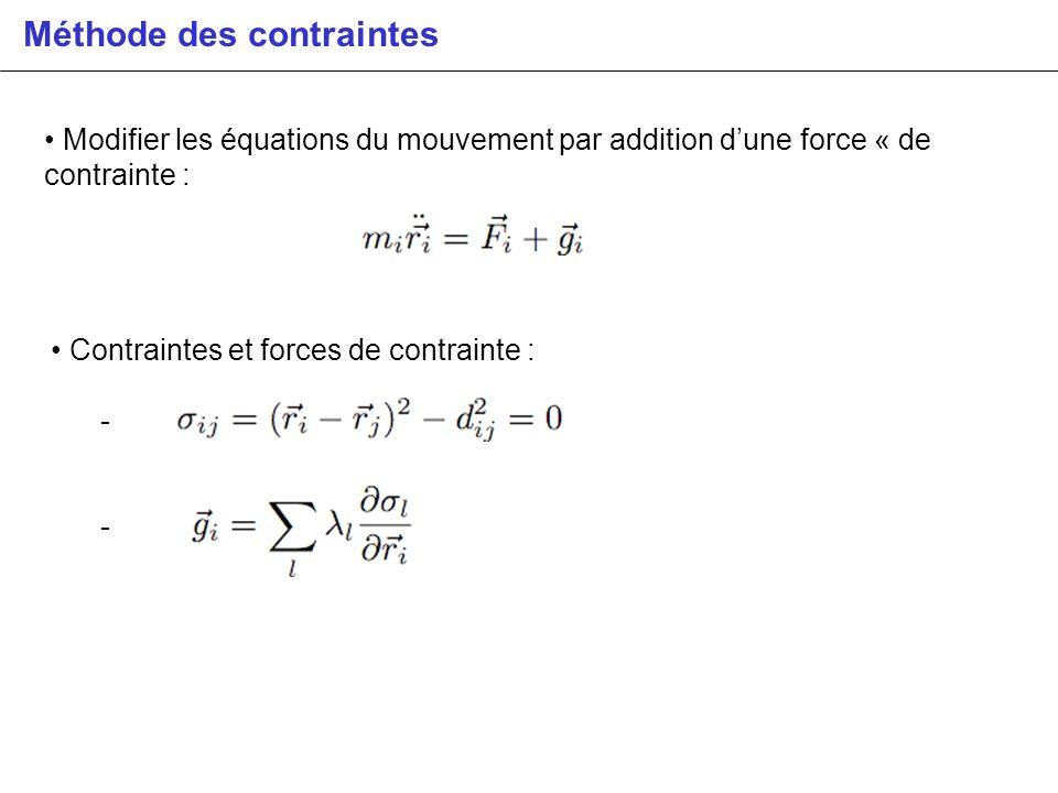 Méthode des contraintes Modifier les équations du mouvement par addition dune force « de contrainte : Contraintes et forces de contrainte : -