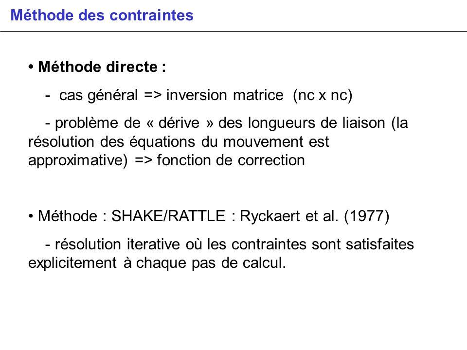 Méthode des contraintes Méthode directe : - cas général => inversion matrice (nc x nc) - problème de « dérive » des longueurs de liaison (la résolutio