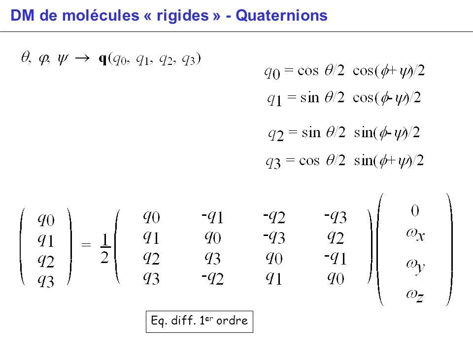 DM de molécules « rigides » - Quaternions Eq. diff. 1 er ordre