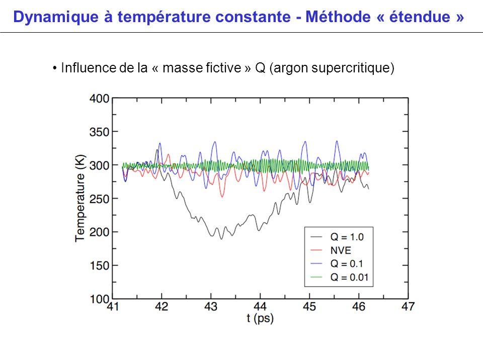 Dynamique à température constante - Méthode « étendue » Influence de la « masse fictive » Q (argon supercritique)
