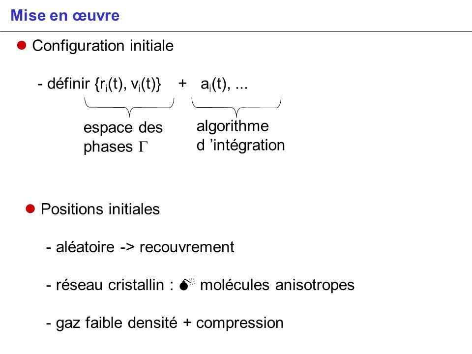 Mise en œuvre Configuration initiale - définir {r i (t), v i (t)} + a i (t),... espace des phases algorithme d intégration Positions initiales - aléat