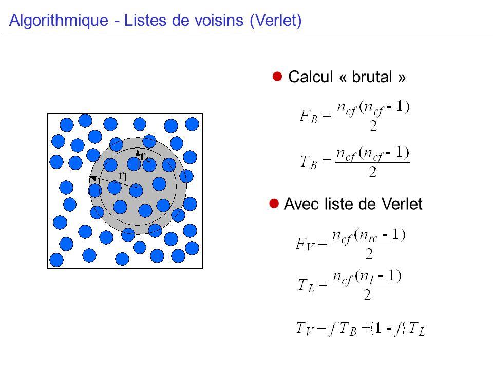 Algorithmique - Listes de voisins (Verlet) Calcul « brutal » Avec liste de Verlet