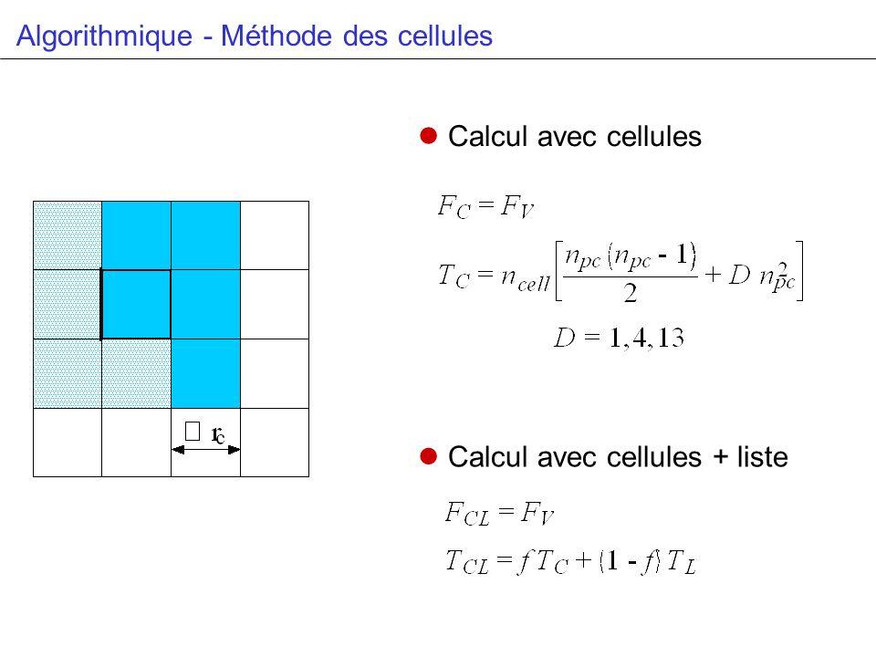 Algorithmique - Méthode des cellules Calcul avec cellules Calcul avec cellules + liste
