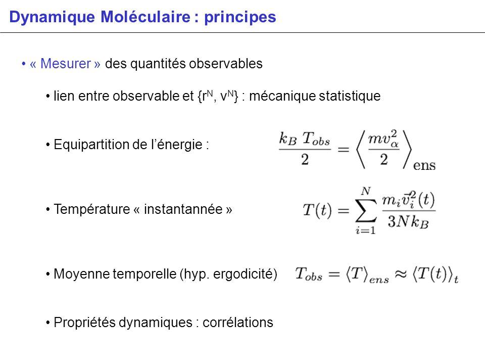 « Mesurer » des quantités observables lien entre observable et {r N, v N } : mécanique statistique Equipartition de lénergie : Température « instantan
