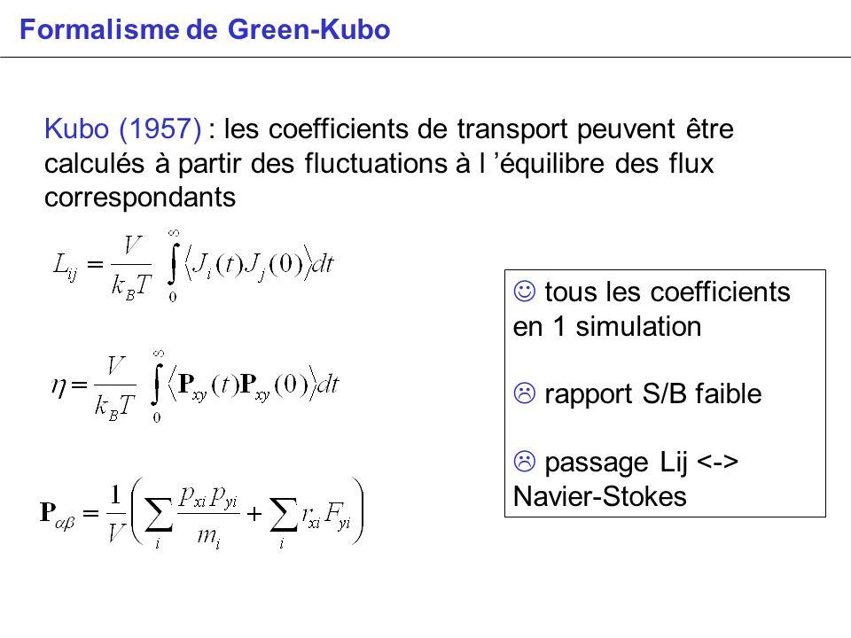 Kubo (1957) : les coefficients de transport peuvent être calculés à partir des fluctuations à l équilibre des flux correspondants Formalisme de Green-