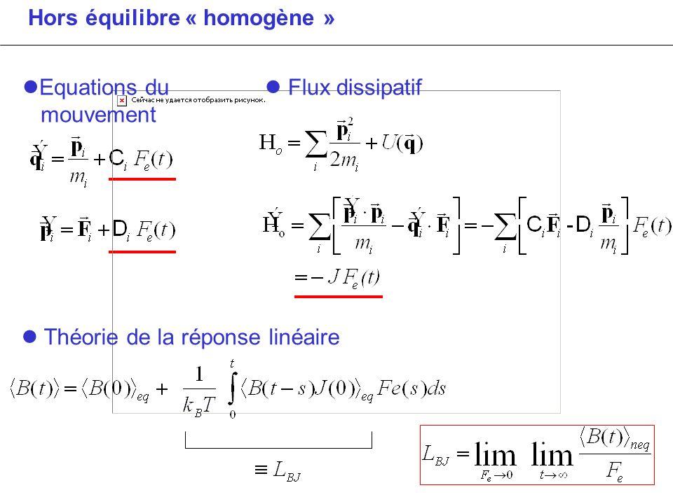 Hors équilibre « homogène » Théorie de la réponse linéaire Equations du mouvement Flux dissipatif
