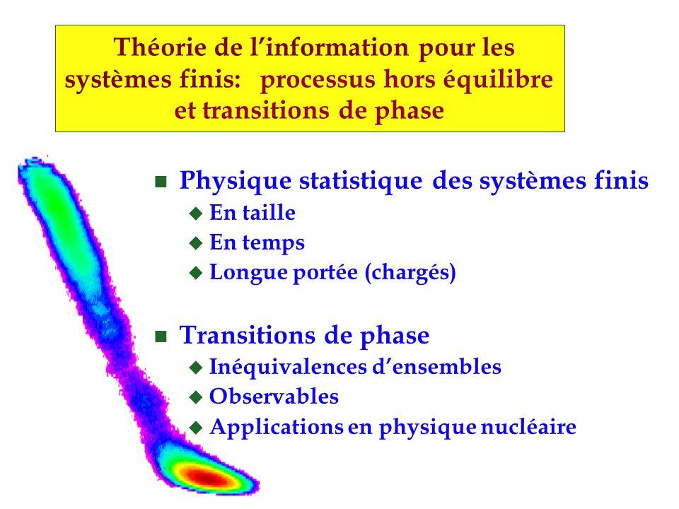 Théorie de linformation pour les systèmes finis: processus hors équilibre et transitions de phase n Physique statistique des systèmes finis u En taille u En temps u Longue portée (chargés) n Transitions de phase u Inéquivalences densembles u Observables u Applications en physique nucléaire