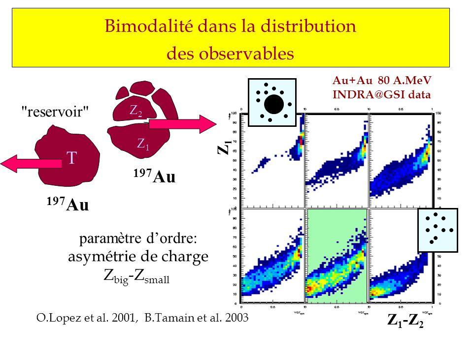 Bimodalité dans la distribution des observables O.Lopez et al. 2001, B.Tamain et al. 2003 Z1Z1 Z2Z2