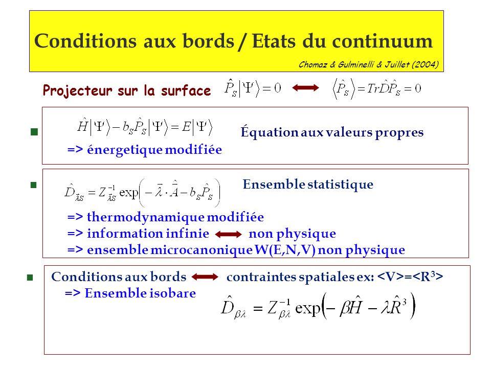 n Ensemble statistique => thermodynamique modifiée => information infinie non physique => ensemble microcanonique W(E,N,V) non physique n Équation aux