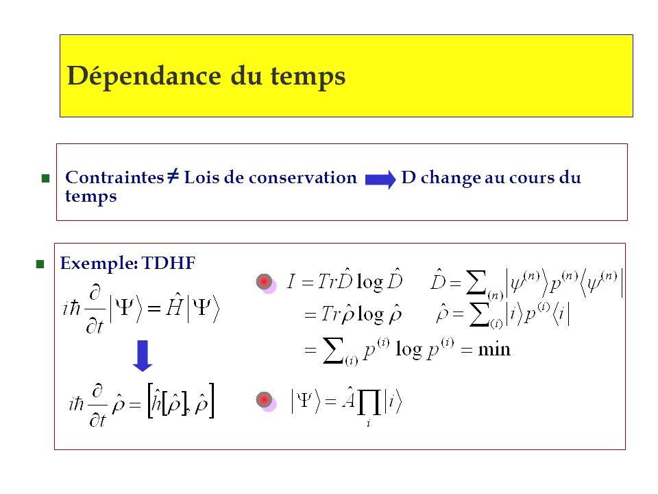 Dépendance du temps n Contraintes Lois de conservation D change au cours du temps n Exemple: TDHF