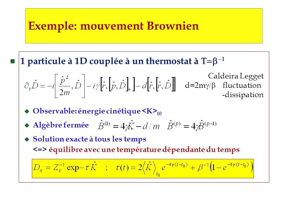 1 particule à 1D couplée à un thermostat à u Observable: énergie cinétique t0 u Algèbre fermée u Solution exacte à tous les temps équilibre avec une température dépendante du temps Exemple: mouvement Brownien Caldeira Legget d=2m fluctuation -dissipation