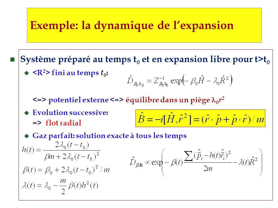 n Système préparé au temps t 0 et en expansion libre pour t>t 0 u fini au temps t 0 : potentiel externe équilibre dans un piège 0 r 2 u Evolution successive: => flot radial u Gaz parfait: solution exacte à tous les temps Exemple: la dynamique de lexpansion
