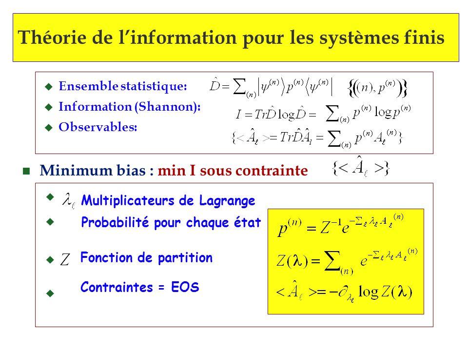 n Minimum bias : min I sous contrainte u Multiplicateurs de Lagrange Probabilité pour chaque état Fonction de partition Contraintes = EOS u Ensemble s