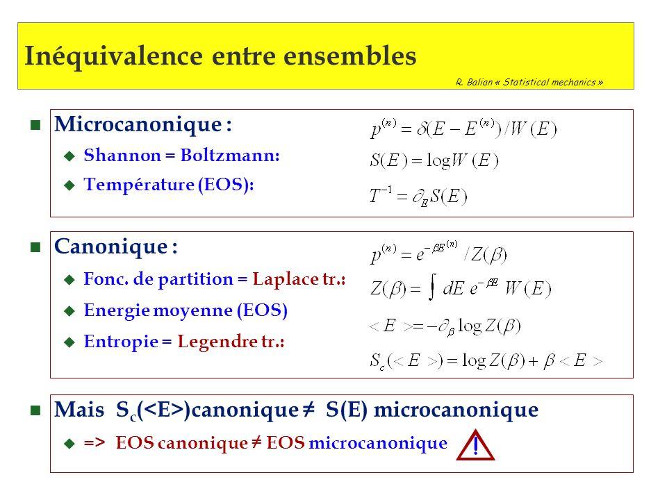 IV Conclusion n Systèmes finis => Théorie de linformation u Différents ensembles - inéquivalences n Transitions de phase => Bimodalités Courbures inversées Fluctuations anormales n Boundary (continuum) => Contraintes de volume u S(E,N,V) non définie n Transient => ensemble stat.