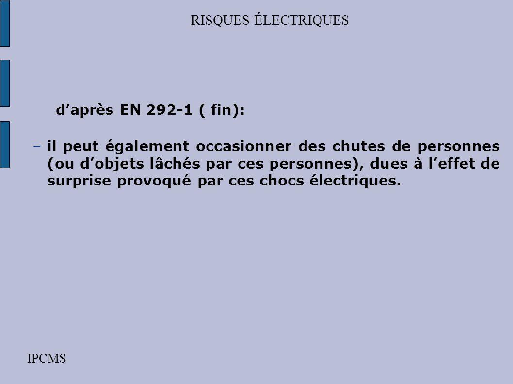 RISQUES ÉLECTRIQUES IPCMS daprès EN 292-1 ( suite ): –dune isolation ne convenant pas dans des conditions prévues –de phénomènes électrostatiques, tel