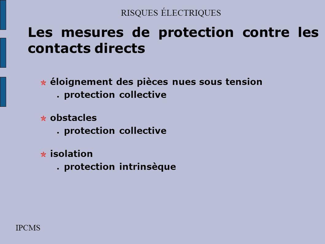 RISQUES ÉLECTRIQUES IPCMS Les mesures de protection