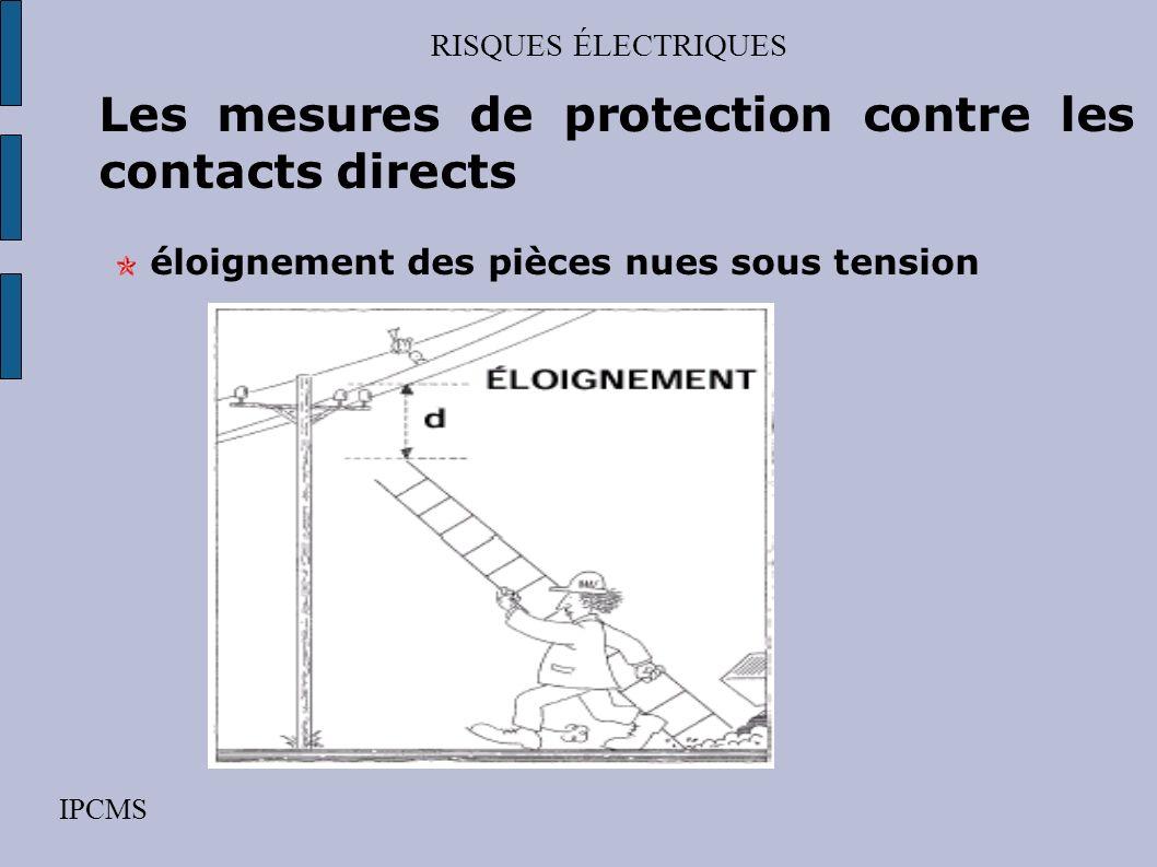RISQUES ÉLECTRIQUES IPCMS Les mesures de protection contre les contacts directs éloignement des pièces nues sous tension protection collective obstacl