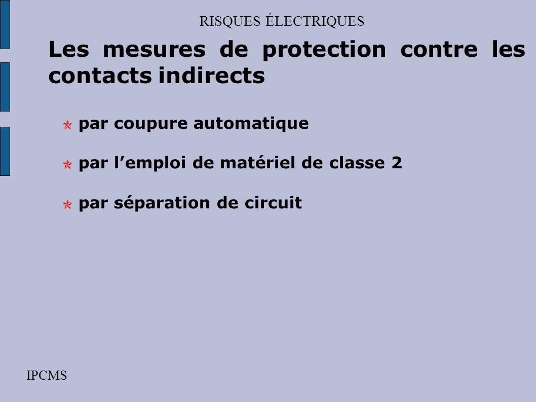 RISQUES ÉLECTRIQUES IPCMS Les mesures de protection contre les contacts directs par obstacles