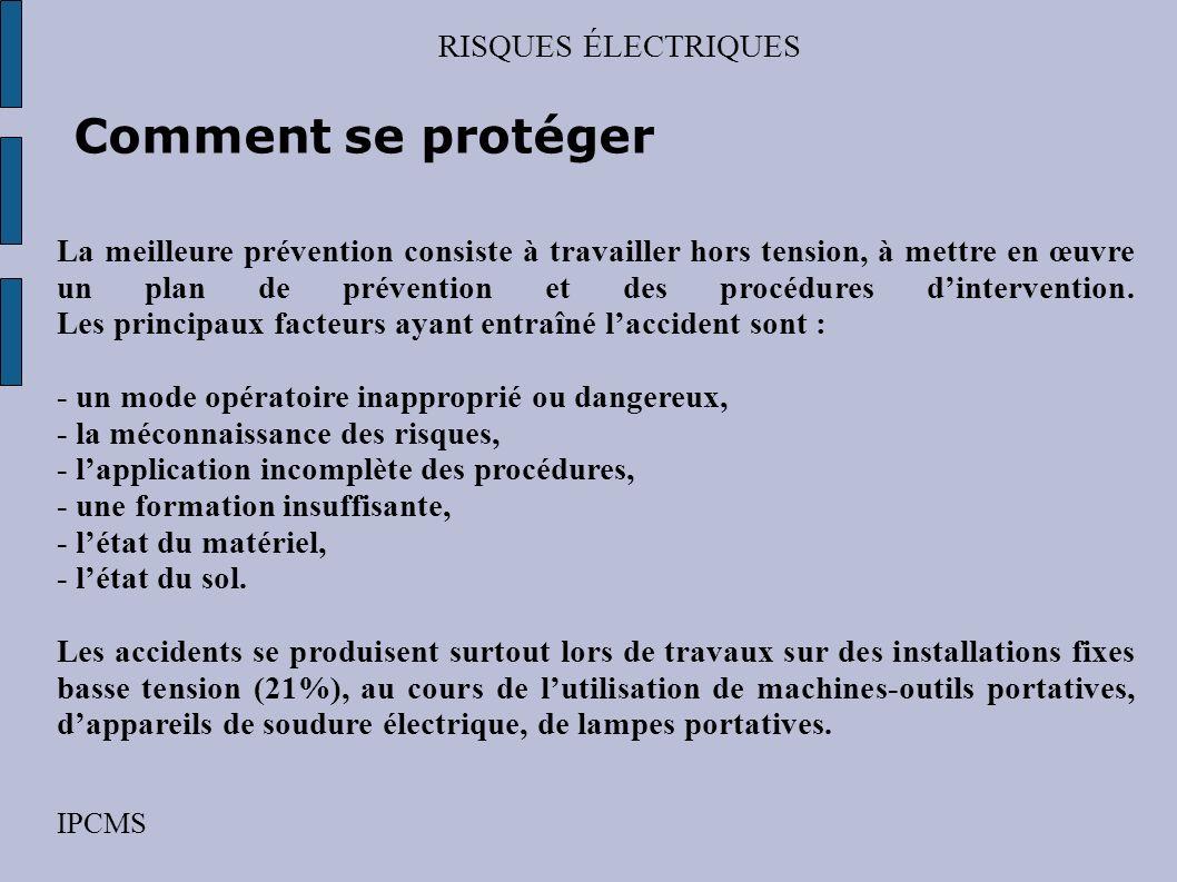 RISQUES ÉLECTRIQUES IPCMS Comment se protéger Comment protéger les installations ? Outre les appareils essentiels à la sécurité dune installation élec