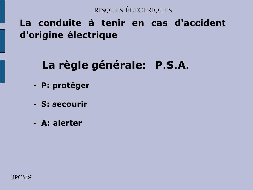 RISQUES ÉLECTRIQUES IPCMS La conduite à tenir en cas d'accident d'origine électrique