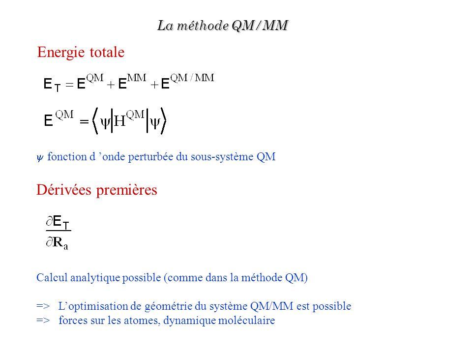 Dérivées premières Calcul analytique possible (comme dans la méthode QM) => Loptimisation de géométrie du système QM/MM est possible => forces sur les