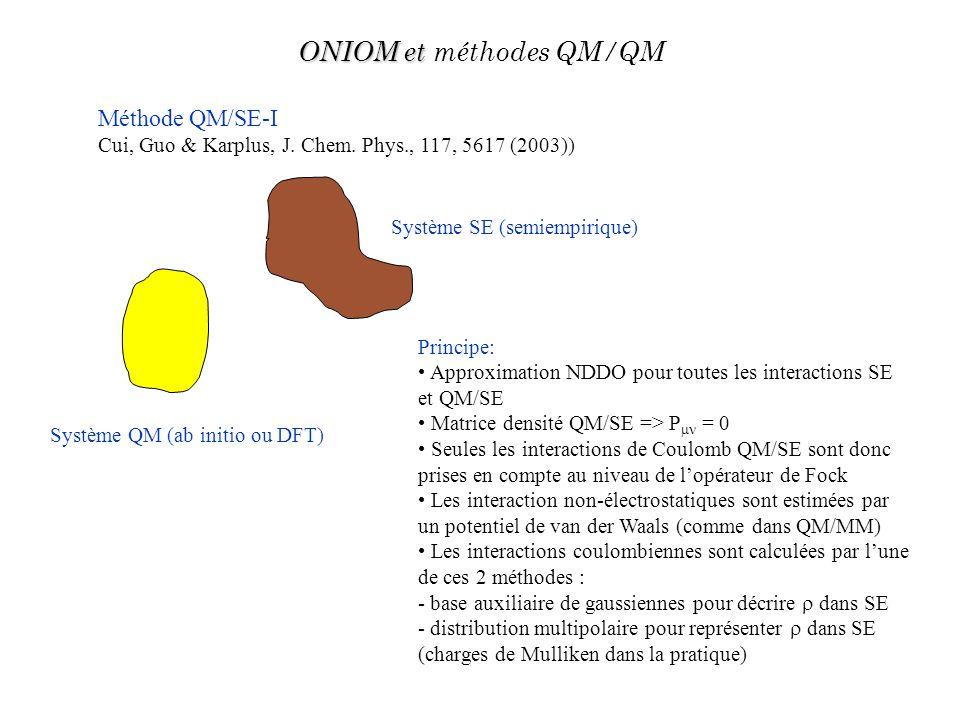 Méthode QM/SE-I Cui, Guo & Karplus, J. Chem. Phys., 117, 5617 (2003)) Système QM (ab initio ou DFT) Système SE (semiempirique) Principe: Approximation